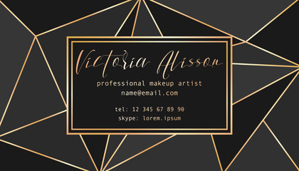Abstract tirangles low poly business card. Geometric black shapes, gold gradient, makeup artist template conceptual vector illustration.