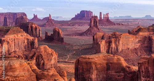 Wall mural Sunrise in Hunts Mesa navajo tribal majesty place near Monument Valley, Arizona, USA