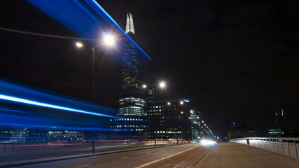 Traffic cars on London Bridge with The Shard in background, LONDON, ENGLAND, long exposure