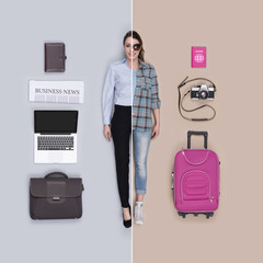 Lifelike female doll comparison: businesswoman and traveler