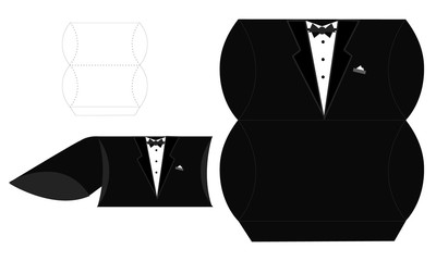 Groom candy die box. Vector diy box template. Tuxedo - pillow wedding favor box. Fast and easy folded. Blueprint paper template
