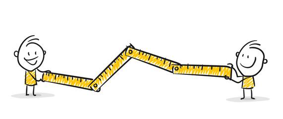 Strichfiguren / Strichmännchen: Messlatte, Zollstock, Entfernung, Länge. (Nr. 152)