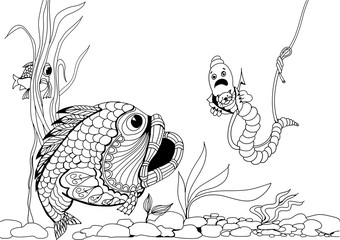 Impudent worm on the hook. Hand drawn patterns for coloring. Freehand sketch drawing for adult antistress coloring book in zentangle style.