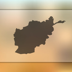 Afghanistan map. Blurred background with silhouette of Afghanistan map. Vector silhouette of Afghanistan map