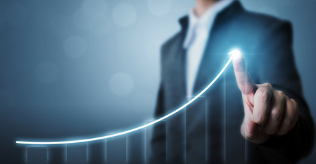 Business development to success and growing growth concept, Businessman pointing arrow graph...