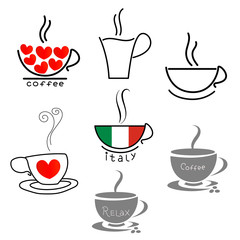 Coffee Cup icons set contour flat design.