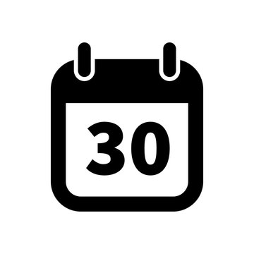 Simple black calendar icon with 30 date isolated on white
