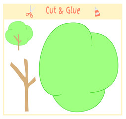 Education paper game for the development of preschool children. Cut parts of the image and glue on the paper. Vector illustration. Use scissors and glue to create the applique. Green tree