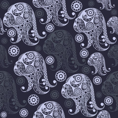 Seamless pattern with the profile of the dog 11