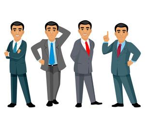 Four businessmen on white background