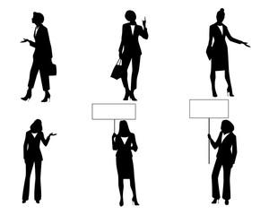 Six businesswomen in action