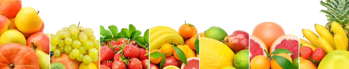 Panoramic collection fresh fruits isolated on white background.