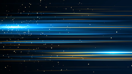 Beautiful light flares. Glowing streaks on dark background. Luminous abstract sparkling lined...