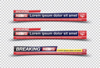 Breaking News template title on transparent backdrop for screen TV channel. Flat vector illustration EPS10