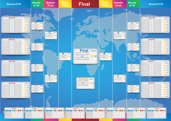 World cup fixture template with world map background. Sport tournament 32 teams fixture and template. Vector EPS10