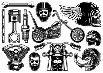 Motorcycle clipart with 12 elements on white background (raster version)