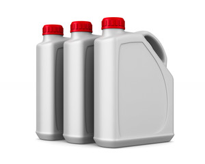three plastic canisters motor oil on white background. Isolated 3D illustration