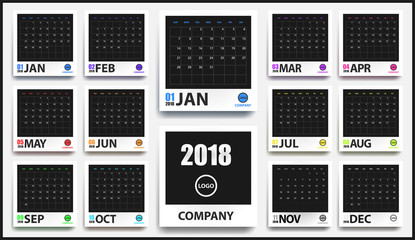 2018 colored calendar mockup in realistic photo frame with shadow isolated. Event planner. All size. Vector illustration