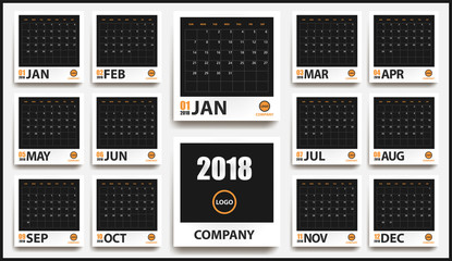 2018 calendar mockup in realistic photo frame with shadow isolated. Event planner. All size. Vector illustration