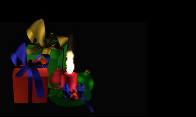 Stimmungsvolles Weihnachtsbild mit Geschenken und brennender Kerze auf schwarzem Hintergrund