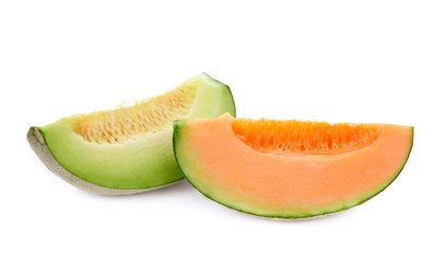 melon slices isolated on white background