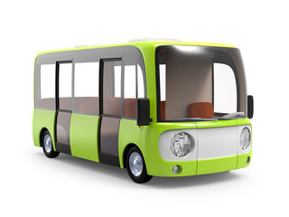 modern cartoon bus green