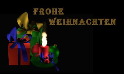 """Stimmungsvolles Weihnachtsbild mit Geschenken und brennender Kerze auf schwarzem Hintergrund mit dem Text """"Frohe Weihnachten"""" in deutsch"""