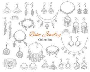 Fashionable boho jewelry accessories collection, vector hand drawn doodle illustration.