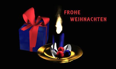 """Stimmungsvolles Weihnachtsbild mit Geschenk und Adventsgesteck auf schwarzem Hintergrund mit dem Text """"Frohe Weihnachten"""" in deutsch"""