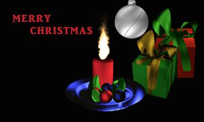 """Stimmungsvolles Weihnachtsbild mit Geschenken und Weihnachtsgesteck auf schwarzem Hintergrund mit dem Text """"Frohe Weihnachten"""" in englisch"""