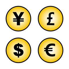 signs of currencies yen pound dollar Euro