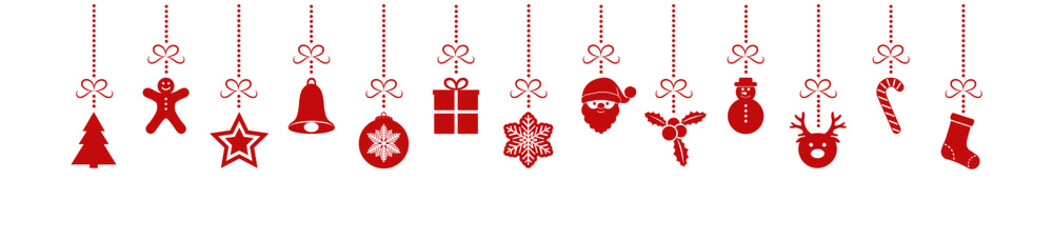 Hanging Christmas icons on white background - panoramic header. Vector.