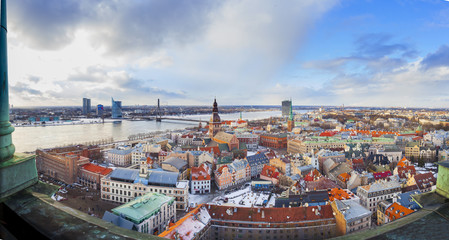 panorama of the old town of Riga