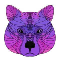 Abstract doodle ornamental bear head. Modern handmade purple bear portrait pattern background