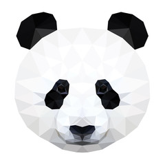 Abstract polygonal panda bear head. Modern low poly panda bear portrait pattern background