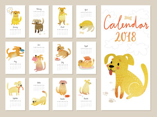 Calendar 2018. Cute monthly calendar with Watercolor dogs.