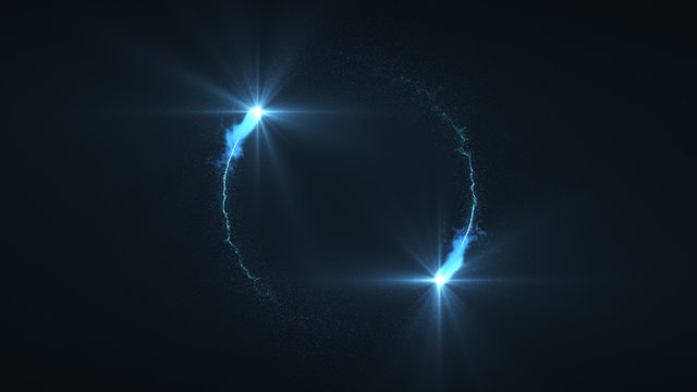 lightning blue ball flying. Shining lights in motion with small particles. Ring of electricity, Plasma ring on a dark background.