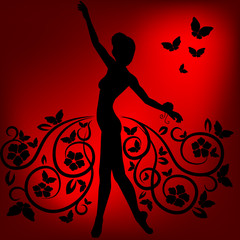 Ballerina Silhouette in einem Rock aus Blumen und Schmetterlingen