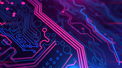 Purple Violet and Blue Microchip backdrop. Abstract background. Digital technology. PCB. Microchip link. 3d illustration. Wall mural