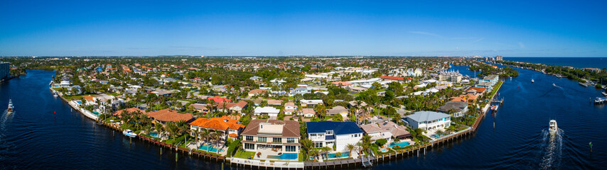 Aerial photo of Hillsboro Florida residential neighborhood homes