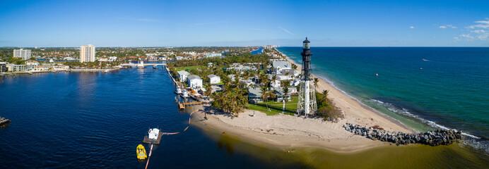 Aerial panorama Hillsboro Inlet Lighthouse Florida