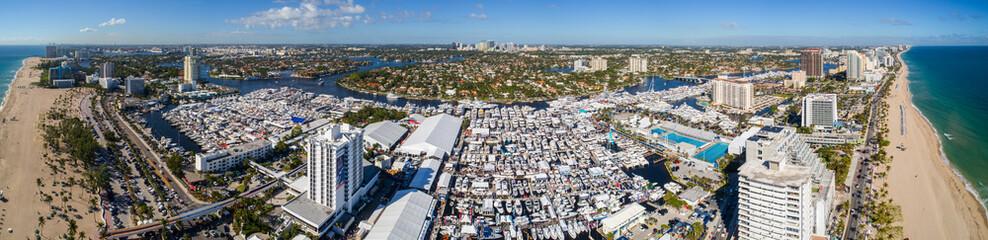 Aerial super panorama Fort Lauderdale Beach Boat Show 2017