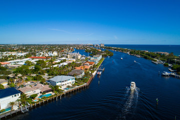 Aerial image Hillsboro Florida Intracoastal waterway and luxury homes