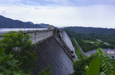Khun Dan Prakarn Chon Dam , the largest and longest roller compacted concrete (RCC) dam in the world , Nakhon Nayok , Thailand
