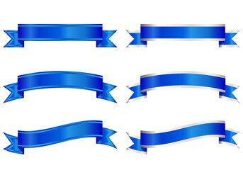 リボン バナー 縁 青