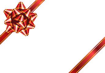 リボン 花形 縁 赤