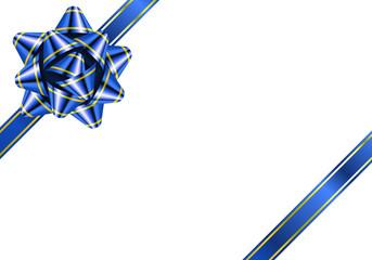 リボン 花形 縁 青