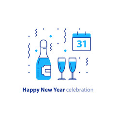 Bottle of champagne and two glasses, calendar with number 31, new year celebration, night party, vector icon