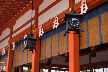 Decorations of the temple at the Fushimi Inari Shrine, Kyoto, Japan