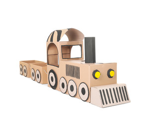 Cardboard train on white background